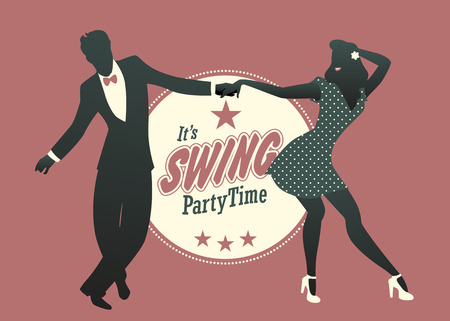 Young couple silhouette dancing swing, lindy hop or rock and roll Иллюстрация