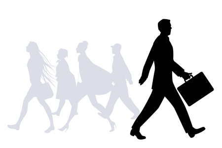 hair style: Business man walking in the street. People silhouettes walking on the background