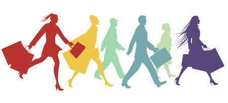 hair style: Silhouettes of people walking in the street. Vector Illustration