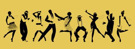 Sylwetki dziewięciu ludzi tańczących Charleston Ilustracje wektorowe