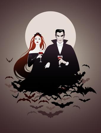 Coppia di vampiri su una nuvola di pipistrelli in possesso di bicchieri di vino rosso Archivio Fotografico - 84008993