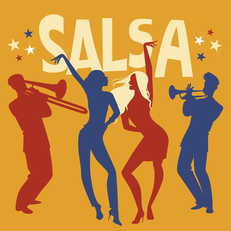 Silhouettes of two girls dancing salsa. Trumpeter and trombonist in the background.