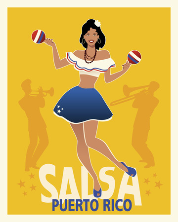 Beautiful girl dancing salsa with maracas. Retro style Puerto Rico poster. Trumpeter and trombonist in the background.