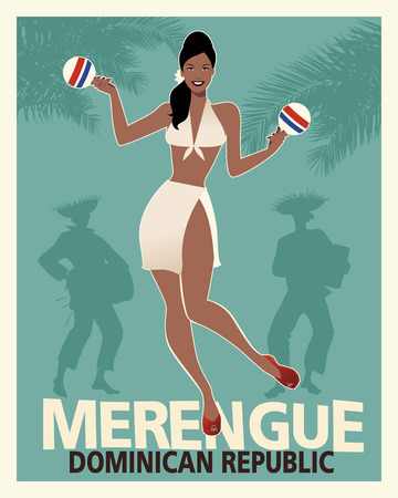 Beautiful girl dancing merengue with maracas.