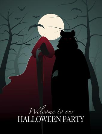 Czerwony kapturek i wilk w lesie. Zaproszenie na imprezę Halloween