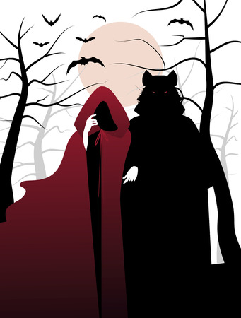 Little red riding hood and wolf in the woods. Invitation to a Halloween Party 向量圖像