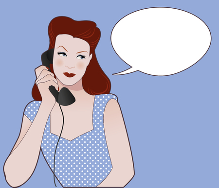 Woman talking on the phone. Speech balloon on the background