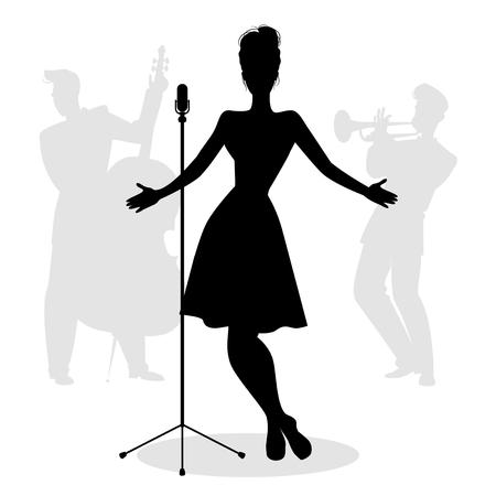 Retro zangeres vrouw silhouet met muzikanten op de achtergrond Vector Illustratie
