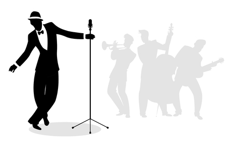 Retro singer 'crooner' silhouette with musicians in the background