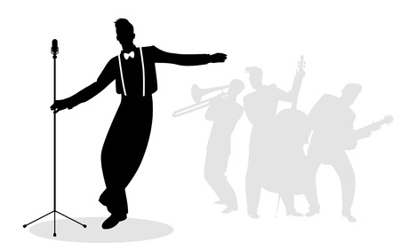 Retro singer crooner silhouette with musicians in the background