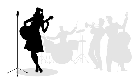 Retro singer woman guitarist silhouette with musicians in the background