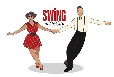 Funny couple dancing swing, rock or lindy hop Illustration