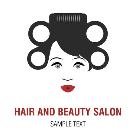 Frau mit Lockenwicklern auf ihrem Kopf. Symbolisches Bild eines Friseurs oder eines Schönheitssalons.