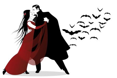 ハロウィンのダンス パーティー。ロマンチックな吸血鬼のカップルは、ハロウィーンの夜にダンスします。