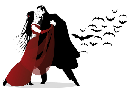Halloween Dance Party. Romantic vampire couple dancing at Halloween Night. Illusztráció