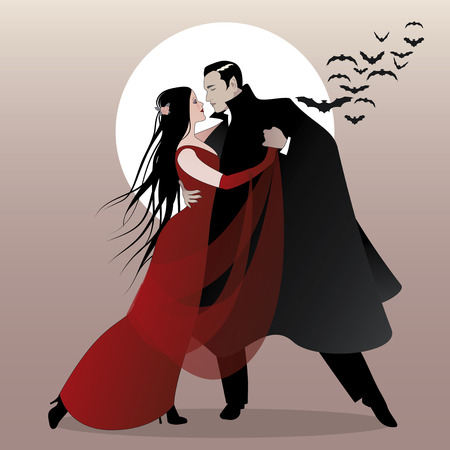 Halloween Dance Party. Romantic vampire couple dancing at Halloween Night. Stock Illustratie