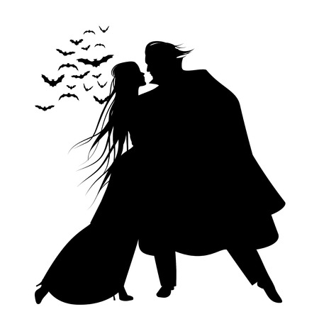Silhouette of romantic and victorian couple dancing,  Cloud of bats on the background. Иллюстрация