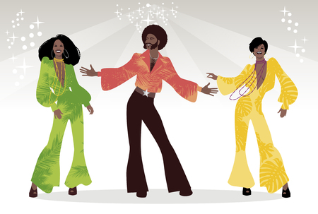 Group of man and two girls dancing Illustration