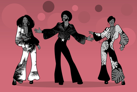 Group of man and two girls dancing soul, funk or disco in Retro style.