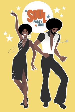 영혼, 펑크 또는 디스코 복고 스타일로 춤 젊은 커플. 일러스트