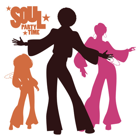 Silhouettes of three people dancing Иллюстрация