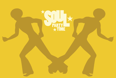 Silhouette of men dancing soul, funky or disco music in Retro Style.