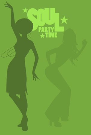Silhouette of girl dancing soul, funky or disco music in Retro Style.