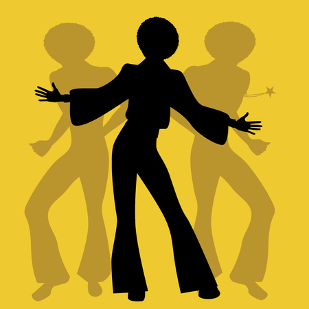 영혼, 펑키 또는 디스코 음악 복고 스타일에서 춤의 실루엣.