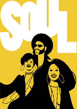 Group of man and two girls in Retro Style Illustration