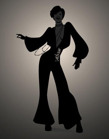 영혼, 펑키 또는 디스코 음악을 춤 소녀의 실루엣. 복고풍 스타일.