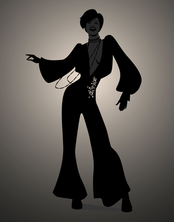 Silhouette of girl dancing soul, funky or disco music. Retro Style.