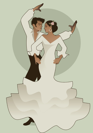 Spanish couple flamenco dancers. Vector Illustration Фото со стока - 86424226