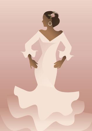 Typical Spanish woman wearing flamenco dress. Vector Illustration