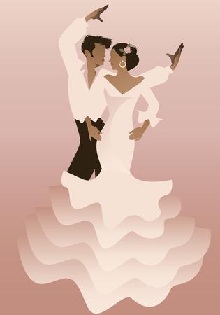 Spanish Flamenco dancer couple. Vector Illustration
