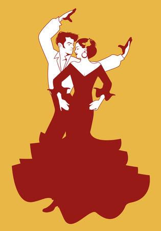 Spanish couple flamenco dancers. Vector Illustration