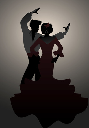 Silhouettes of Spanish couple flamenco dancers. Stock Illustratie