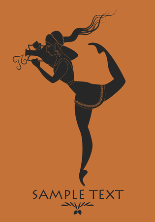 Ancient Greece girl carrying an amphora. Silhouette Illustration