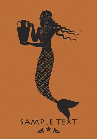Ancient Greece man with fish tail carrying an amphora. Triton. Mediterranean mythology