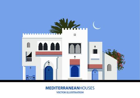 지중해 모로코 또는 아랍어 스타일 주택 집합.
