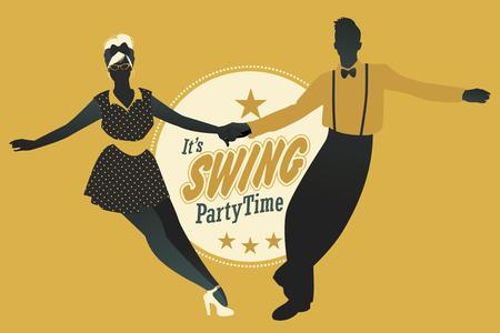 Young couple dancing swing, rock or lindy hop.