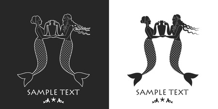 newt: Ancient Greece mermaid and triton carrying an amphora. Mediterranean mythology