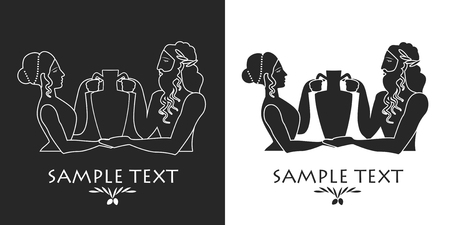 Ancient Greece girl and bearded man carrying an amphora. Silhouette