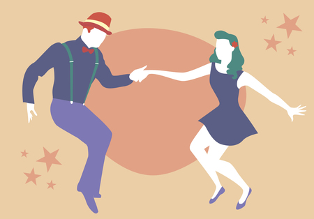 Young couple dancing swing, rock or lindy hop Illustration