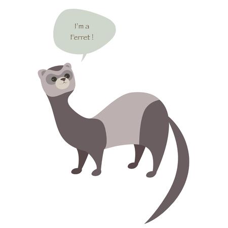 Cute ferret isolated on white illustration. Illustration