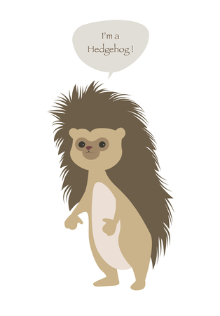 Cute hedgehog isolated on white illustration.