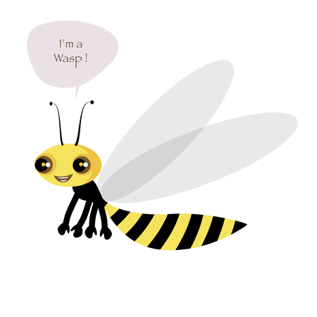 Cute wasp isolated on white background and speech balloon. Vector Illustration