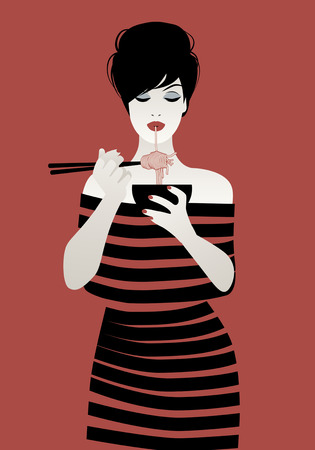 female face closeup: Beautiful girl wearing striped clothes eating spaghetti or noodles with chopsticks. Vector illustration on red background