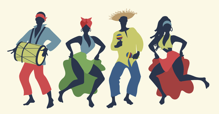 Group of four people dancing and playing Latin music Stock Illustratie
