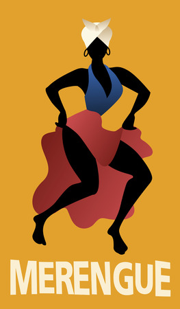 Silhouette of woman dancing Latin music. Merengue. Vector Illustration