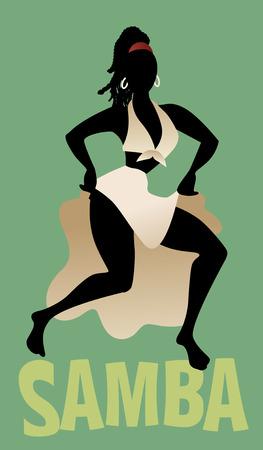 Silhouette of woman dancing Latin music. Samba. Vector Illustration